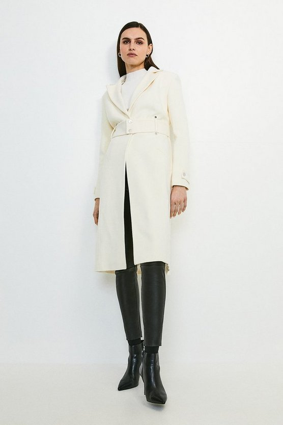 Ivory Italian Wool Rich Popper Coat