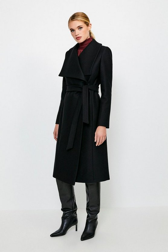 Black Italian Wool Blend Shawl Collar Coat