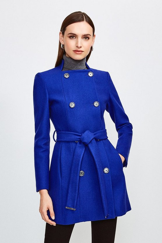 Blue Italian Wool Blend Military Belted Coat