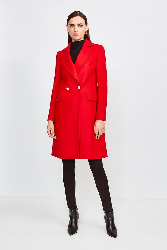 Red Italian Wool Blend Double Breasted Coat