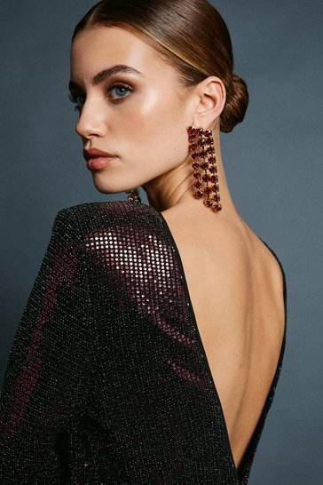 Burgundy Diamante Drop Earring