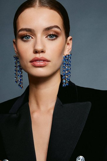 Blue Diamante Drop Earring