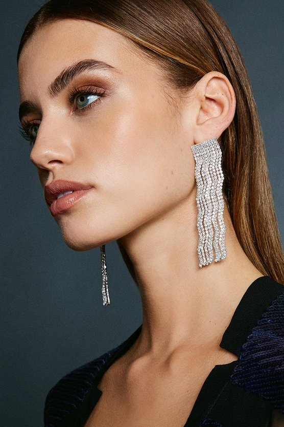 Silver Wavey Diamante Drop Earring