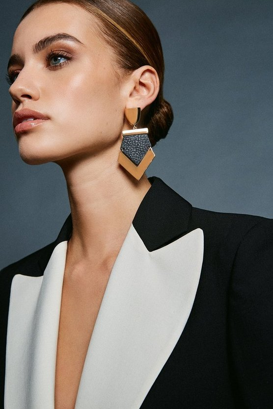 Black/Gold Statement Earring