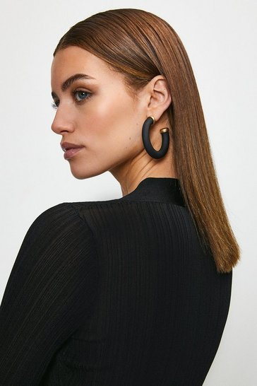 Black Gold Plated Matte Hoops