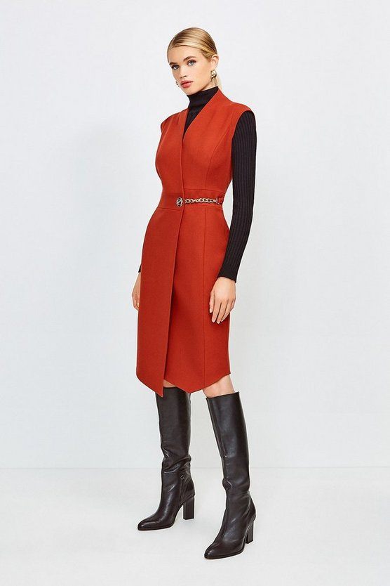 Rust Compact Stretch Chain Link Wrap Dress