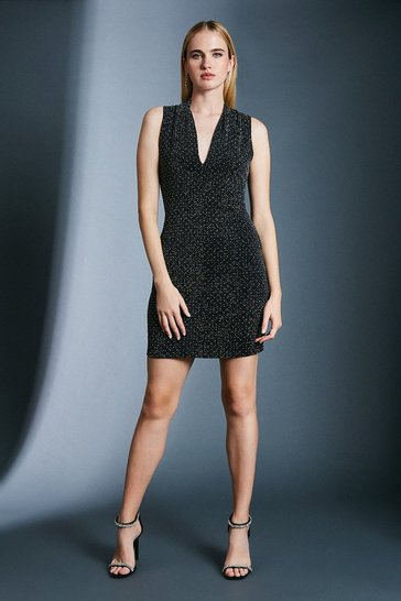 Black Stud Glitter V Neck Jersey Dress