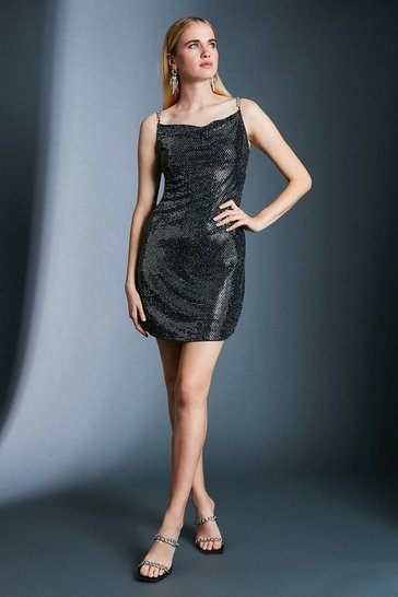 Silver Chain Strap Sequin Jersey Dress