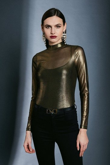 Gold Foiled Mesh Funnel Jersey Top
