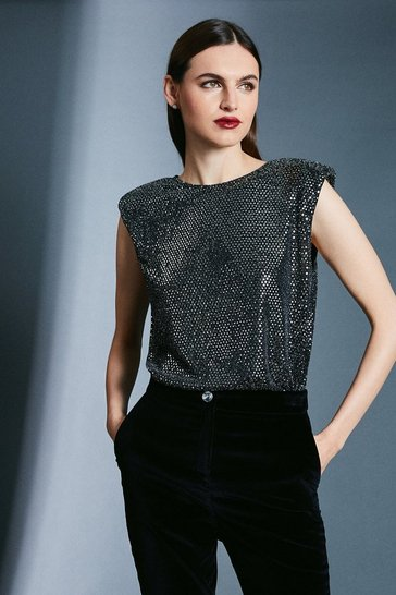 Black Sequin Shoulder Pad Jersey T-Shirt