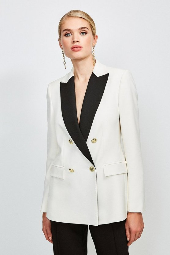 Ivory Clean Compact Contrast Lapel Double Breasted Jacket
