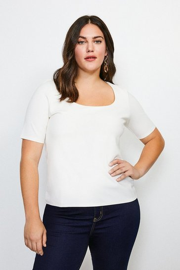 Ivory Curve Ponte Scoop Neck Short Sleeve Top