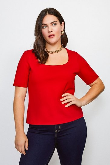 Red Curve Ponte Scoop Neck Short Sleeve Top
