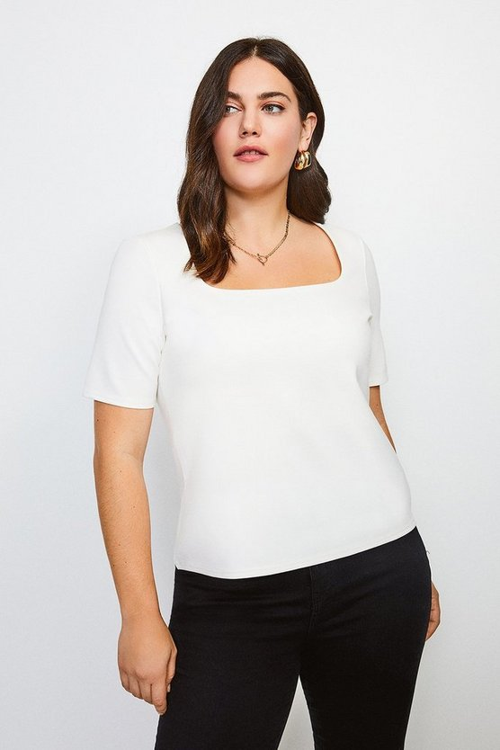 Ivory Curve Ponte Square Neck Short Sleeve Top