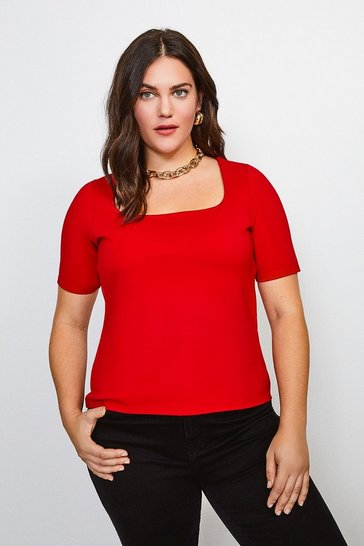 Red Curve Ponte Square Neck Short Sleeve Top