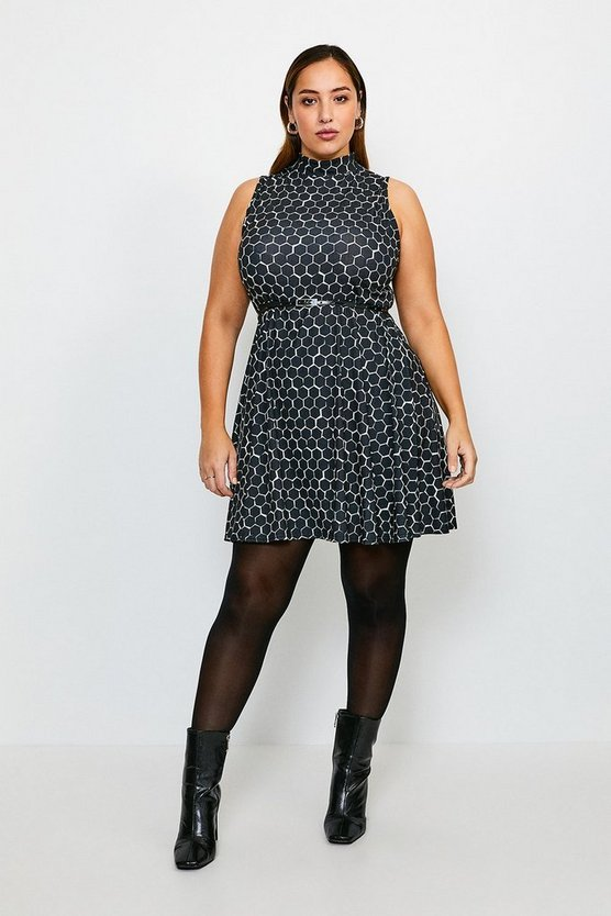 Animal Curve Funnel Neck Printed Jersey Dress