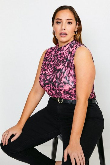 Animal Curve Sleeveless Funnel Printed Jersey Top