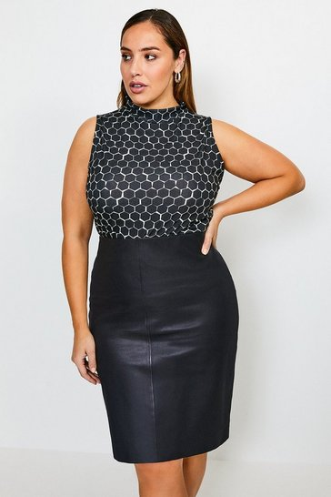 Black Curve Sleeveless Funnel Printed Jersey Top