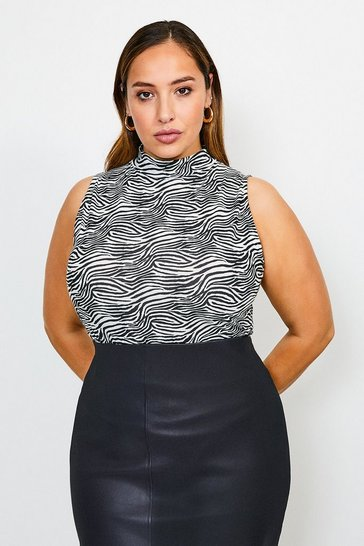 Zebra Curve Sleeveless Funnel Printed Jersey Top