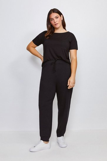 Black Curve Lounge Viscose Cuffed Jogger
