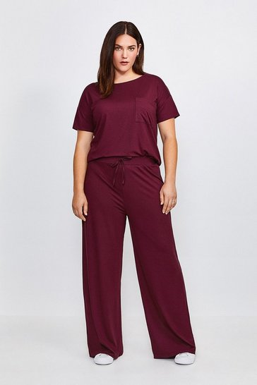 Aubergine Curve Lounge Viscose Wide Leg Trousers