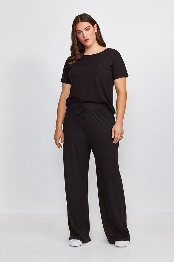Black Curve Lounge Viscose Wide Leg Trousers