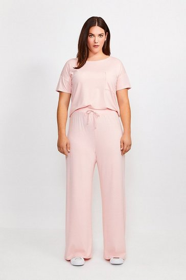 Blush Curve Lounge Jersey Viscose Wide Leg Trousers