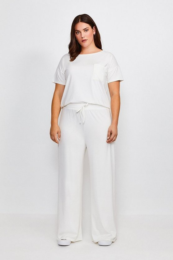 Ivory Curve Lounge Jersey Viscose Wide Leg Trousers