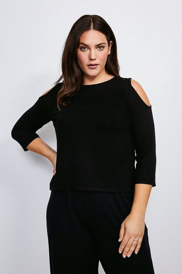 Black Curve Lounge Cold Shoulder Viscose Jersey Top