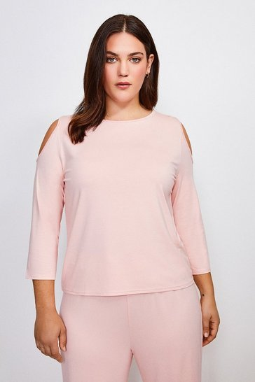 Blush Curve Lounge Cold Shoulder Viscose Top