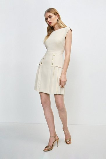 Cream Epaulette Military Button Pleated Dress
