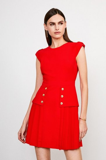 Red Epaulette Military Button Pleated Dress