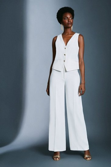 Ivory Satin Back Crepe Wide Leg Trousers