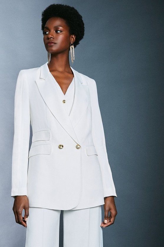 Ivory Satin Back Crepe Tux Jacket