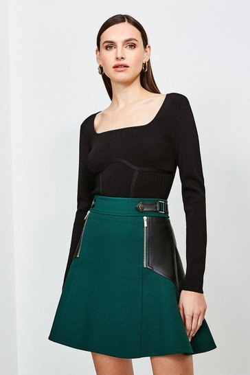 Green Structured Crepe Pu Panelled A Line Skirt