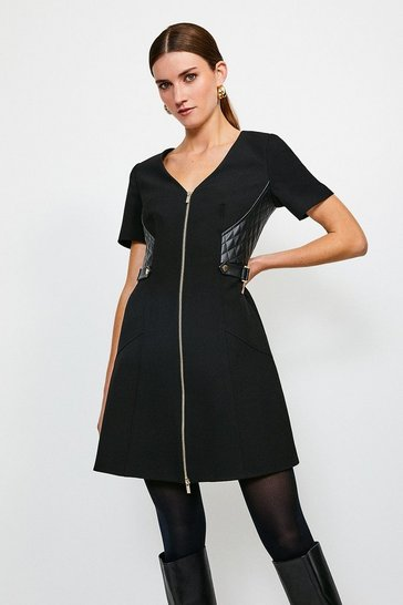 Black Structured Crepe And Pu Dress