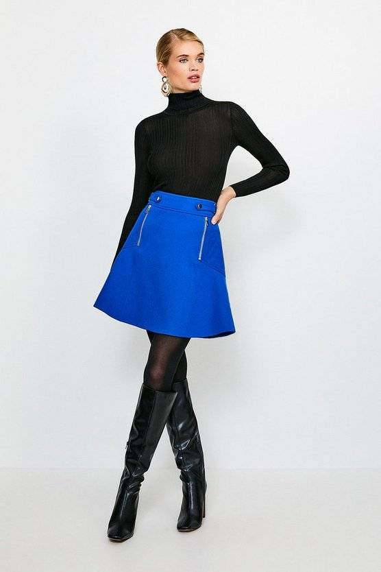 Cobalt Structured Crepe Quilted Panelled A Line Skirt