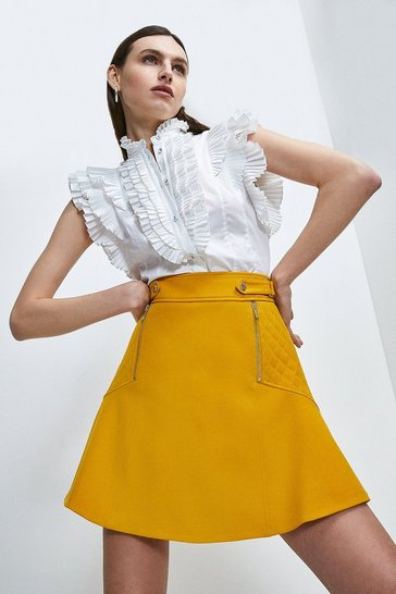 Ochre Structured Crepe Quilted Panelled A Line Skirt