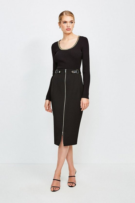 Black Structured Crepe Waist Tab Pencil Skirt