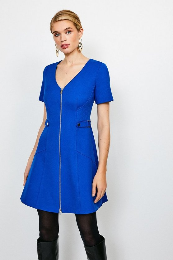 Cobalt Structured Crepe Quilted Waist A- Line  Dress