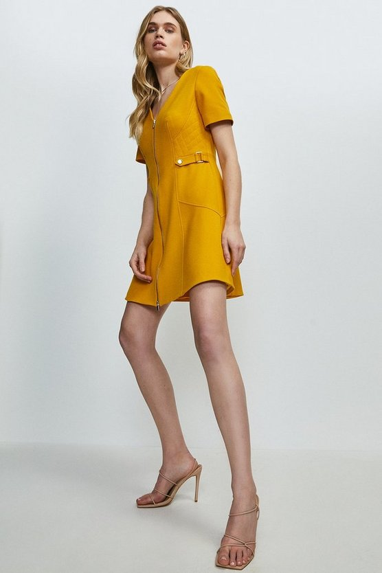 Ochre Structured Crepe Quilted Waist A- Line  Dress