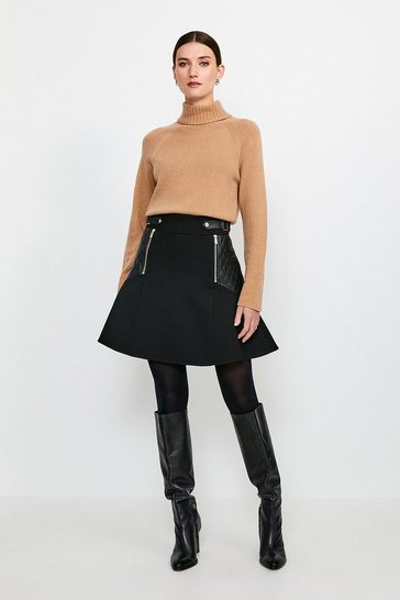 Black Structured Crepe Pu Panelled A Line Skirt