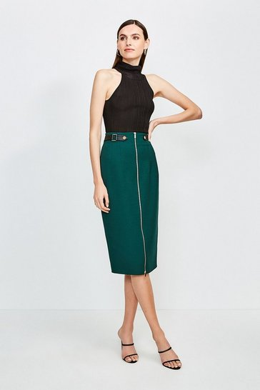 Green Structured Crepe Waist Tab Skirt
