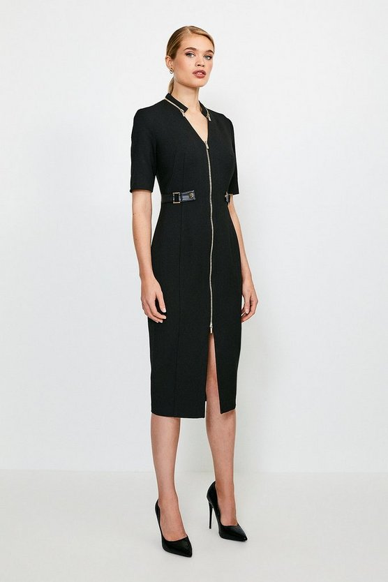 Black Structured Crepe Waist Tab Pencil Dress