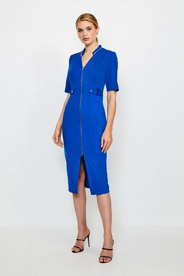 Cobalt Structured Crepe Waist Tab Pencil Dress