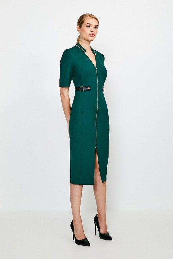 Green Structured Crepe Waist Tab Pencil Dress