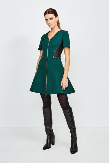 Green Structured Crepe And Pu Dress