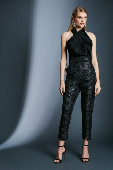 Black Snake Jacquard Trousers