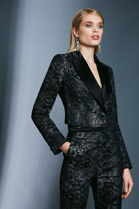 Black Snake Jacquard Metallic Cropped Jacket