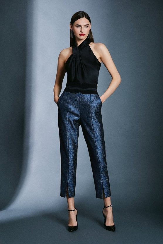 Blue Metallic Jacquard Trousers